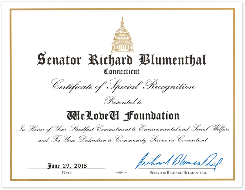 certificate of special recognition from senator of connecticut in