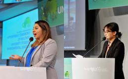 국제위러브유운동본부 대학생 회원 사례발표자가 전 세계 클린월드운동과 환경리더에 대해 2018년 11월 22일 대학생 환경리더 위촉식에서 발표하고 있는 모습