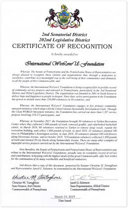 2019년 3월 19일 미국 페실베니아주에 위치한 국제위러브유운동본부 필라델피아 지부에서 PA 제2상원지구 상원의원과 제2입법부 하원의원에 받은 표창장 사진.