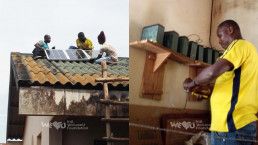 베냉 쟁비에 팡지 초등학교의 본격적인 전기시설 설치작업은 10월 9일부터 시작되어, 국제위러브유운동본부는 태양광 패널 설치, 배터리 연결, 조명 설치 등 환한 빛을 밝혀 수업을 원활하게 진행하도록 교육환경개선에 나섬