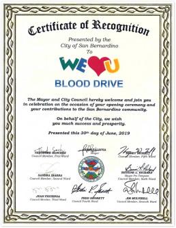 재단법인 국제위러브유가 2019년 '전 세계 헌혈하나둘운동'을 실시하여 미국 CA 샌 버나디오 시장 및 의회의원들이 위러브유에 표창장을 시상함.
