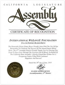 재단법인 국제위러브유 미국 캘리포니아주 로스앤젤레스 지부서 CA 입법부 제47지구 총회의원에 표창장을 2019년 6월 30일 수상.