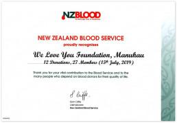 마나카우 국제위러브유 회원들이 2019년 7월 15일에 헌혈원과 헌혈을 필요로 하는 많은 사람에게 중요한 기여를 하여 뉴질랜드 혈액원이 위러브유에 감사장을 줌.
