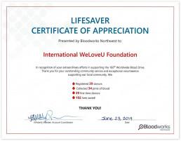 제160차 전 세계 헌혈하나둘운동을 통해 지역사회를 지원하는 특별한 자원봉사활동에 감사하는 의미로 미국 블러드웍스 노스트웨스트가 국제위러브유에 2019년 6월 23일 라이프세이버 감사장을 수여함.