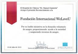 마누엘킨델라 대학병원이 국제위러브유에 타의 모범이 되는 자발적 헌혈봉사를 통해 사회에 기여한 공로로 감사장을 수여.