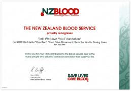 세이브더월드 프로젝트 중 생명살리기 활동인 '2019 전 세계 헌혈하나둘운동'을 시행한 위러브유를 자랑스럽게 인정하며 뉴질랜드 혈액원이 감사장을 수여함.