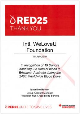 2019년 7월 18일 호주적십자사 혈액원 그룹회계관리자가 위러브유 브리즈번 지부 헌혈자들의 공로를 인정하며 수여한 감사장 사진.