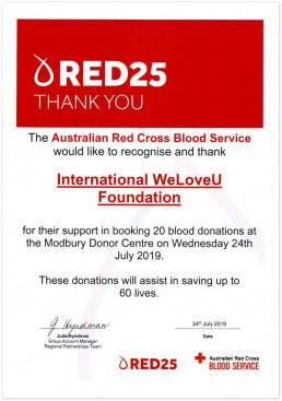 2019년 7월 24일 호주의 모드버리 혈액원에서 국제위러브유가 20회 헌혈을 하여 생명을 살린 공로로 호주적십자사 혈액원이 위러브유에 감사장을 수여함.
