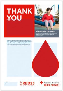 호주적십자사 혈액원이 위러브유의 8차례의 헌혈에 대해 호주 전역의 수혜자들을 대신하여 감사의 의미를 담아 2019년 7월 31일 감사장을 수여.