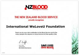 뉴질랜드 혈액원이 헌혈을 필요로 하는 많은 사람들에게 중요한 기여를 한 공로로 국제위러브유에 감사장을 2019년 7월 31일 수여함.