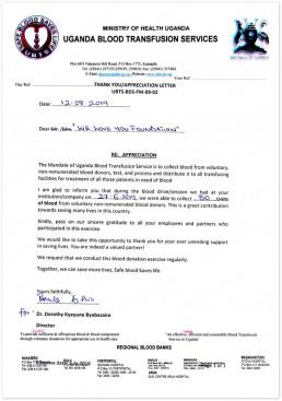 2019년 8월 12일, 우간다 수혈원장이 국제위러브유의 헌혈하나둘운동을 통한 자발적인 혈액 기증에 대해 감사의 마음을 담아 위러브유에 보낸 감사편지.