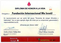 2019년 7월 21일, 국제위러브유가 콜롬비아 산비센테병원 조직 및 혈액은행장에게 헌혈을 통한 생명 나눔에 동참하여 라이프 표창장을 받음.