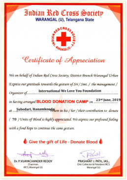 국제위러브유는 2019년 6월 23일 인도적십자사 와랑갈지사장에 헌혈하나둘운동을 전개한 공로로 감사장을 수여함.
