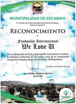2019년 6월 29일, 국제위러브유가 환경정화활동에 자발적으로 참여해 뛰어난 봉사를 전개하여 페루 소카바야 구청장에게 받은 감사장 사진.