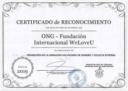 2019년 7월 24일, 아르헨티나 코르도바시청 수혈의학과장이 NGO 단체 국제위러브유에 자발적인 헌혈 홍보 및 혈액 수집 참여에 대한 감사를 표하는 감사장을 수여함.