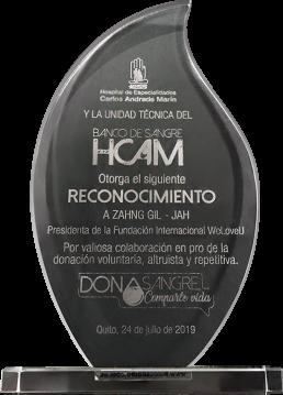 2019년 7월 24일, 카를로스 안드라데마린(HCAM) 종합병원은 국제위러브유 장길자 회장님께 자발적, 이타적, 정기적인 헌혈을 위한 협력에 대한 감사의 마음을 패에 담아 수여함.