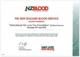2019년 7월 25일 뉴질랜드 혈액원은 국제위러브유의 헌혈 활동을 자랑스럽게 인정하며 감사장을 수여함.