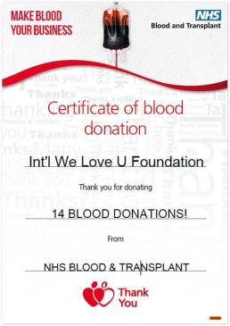 영국의 국가보건서비스 혈액 및 이식센터가 2019년 8월 6일 국제위러브유에 혈액 기부에 대한 감사의 의미를 담아 감사장을 수여함.