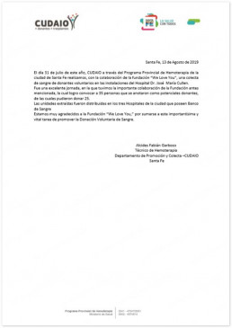 CUDAIO는 위러브유와 협력해 혈액수집활동을 성공적으로 진행하여 위러브유에 감사장을 수여함.