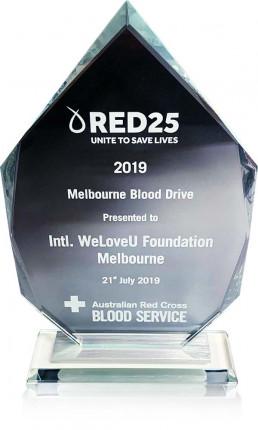 2019년 7월 21일 국제위러브유의 장길자 회장님이 개최한 헌혈하나둘운동을 통해 많은 시민들의 생명을 살린 공로로 호주적십자사 혈액원이 위러브유에 수여한 감사장 사진.