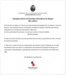 2019년 7월, 장길자 회장님이 설립한 국제위러브유는 자발적 헌혈캠페인을 개최하여 적극적으로 헌혈에 참여한 공로를 인정받아 아르헨티나 카를로스 G. 두란드 종합병원 수혈의학네트워크로부터 감사편지를 받음.