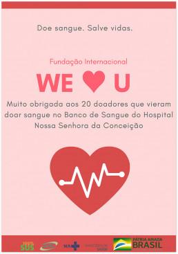 2019년 7월 24일, 장길자 회장이 설립한 (재)국제위러브유는 브라질 포트루알레그리시에 위치한 콘세이성병원으로부터 헌혈에 대한 고마움의 의미가 담긴 감사장을 받음.