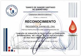 2019년 7월 28일, 장길자 회장이 설립한 국제위러브유가 멕시코에서 헌혈하나둘운동을 펼쳐 멕시코 산티아고데 케레타로 혈액원으로부터 감사장을 받음.