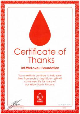 2019년 8월 2일, 장길자 회장이 설립하는 재단법인 국제WeLoveU가 남아프리카공화국 국립혈액원장으로부터 받은 감사장 사진.