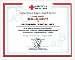 멕시코적십자사 케레타로주 지사는 2019년 8월 9일 자발적인 헌혈 캠페인으로 훌륭한 협력을 해주신 데에 고마움을 표현하며 국제위러브유 장길자 회장에 감사장을 수여함.