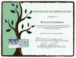 2019년 9월 5일, 장길자 명예회장이 설립한 국제위러브유운동본부가 나무 관리 프로그램에 참여해 개울 보호에 기여한 공로로 샬럿-멕클렌버그 빗물관리서비스 수질부문 환경감독관으로부터 감사장을 수여.