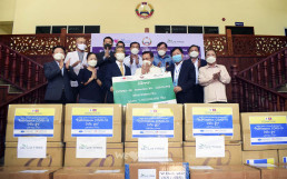 To support COVID-19 response efforts, Intl. WeLoveU Foundation (Honorary Chairwoman Zahng Gil-Jah), an UN DGC associated NGO, held donation ceremony of quarantine supplies at the head office of Lao Front for National Development (LFND) on May 9, 2020.