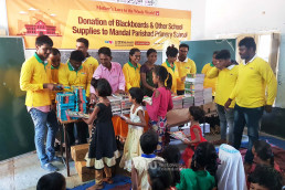 The Intl. WeLoveU Foundation (Chairwoman Zahng Gil-jah) donated blackboards, electric fans, and educational supplies to Mandal Parishad Primary School in Madhuban Colony, Telangana, India on August 28.