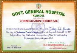 2019년 8월 15일, 국제위러브유 장길자 명예회장이 인도의 쿠르눌 국립종합병원으로부터 2019년에 뛰어난 업적을 남긴 공로로 제73회 독립기념일 기념행사에서 표창장을 받았다.